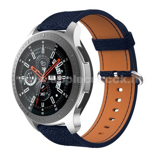 Valódi bőr okosóra szíj - 80mm + 120mm hosszú - SAMSUNG Galaxy Watch 46mm / SAMSUNG Gear S3 Classic / SAMSUNG Gear S3 Frontier - SÖTÉTKÉK