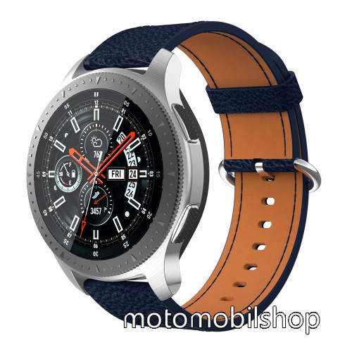 Valódi bőr okosóra szíj - 80mm + 120mm hosszú, 22mm széles - SAMSUNG Galaxy Watch 46mm / SAMSUNG Gear S3 Classic / SAMSUNG Gear S3 Frontier - SÖTÉTKÉK