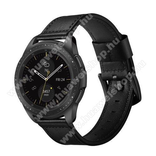 Valódi bőr okosóra szíj - 80mm + 120mm hosszú, 22mm széles - FEKETE - HUAWEI Watch GT / HUAWEI Watch GT 2e / Honor Watch Magic / HUAWEI Watch GT 2 46mm