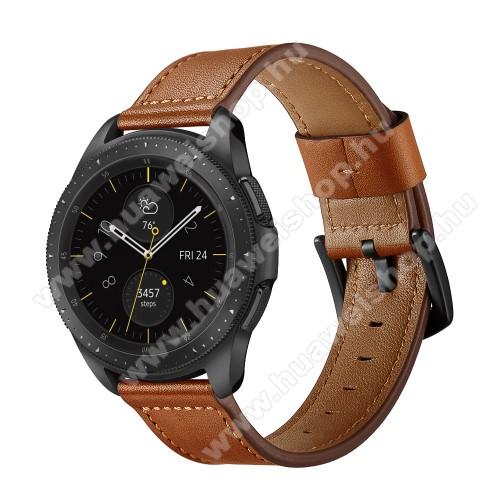Valódi bőr okosóra szíj - 80mm + 120mm hosszú, 22mm széles - BARNA - HUAWEI Watch GT / HUAWEI Watch GT 2e / Honor Watch Magic / HUAWEI Watch GT 2 46mm