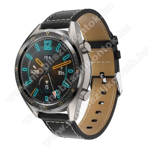 Valódi bőr okosóra szíj - 83mm + 109mm hosszú, 22mm széles - FEKETE - SAMSUNG Galaxy Watch 46mm / SAMSUNG Gear S3 Classic / SAMSUNG Gear S3 Frontier / HUAWEI Watch GT / Watch GT 2 46mm / HUAWEI Watch Magic
