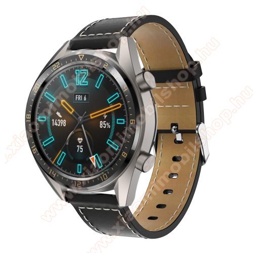 Xiaomi AmazfitValódi bőr okosóra szíj - 83mm + 109mm hosszú, 22mm széles - FEKETE - SAMSUNG Galaxy Watch 46mm / SAMSUNG Gear S3 Classic / SAMSUNG Gear S3 Frontier / HUAWEI Watch GT / Watch GT 2 46mm / HUAWEI Watch Magic