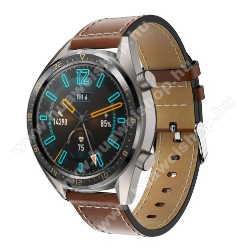 HUAWEI Watch GT 2 46mm Valódi bőr okosóra szíj - 83mm + 109mm hosszú, 22mm széles - VILÁGOSBARNA - SAMSUNG Galaxy Watch 46mm / SAMSUNG Gear S3 Classic / SAMSUNG Gear S3 Frontier / HUAWEI Watch GT / Watch GT 2 46mm / HUAWEI Watch Magic