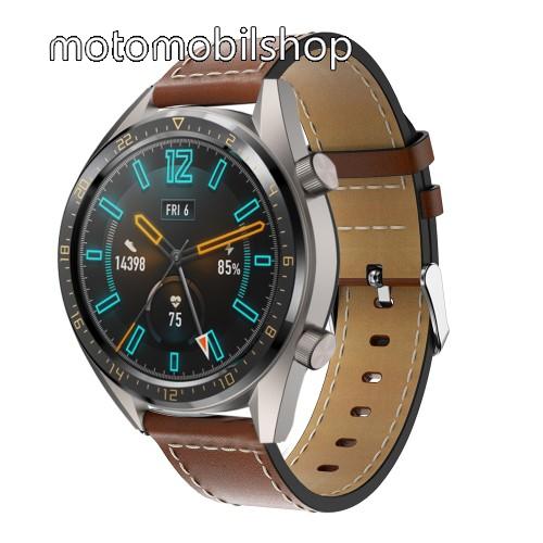 Valódi bőr okosóra szíj - 83mm + 109mm hosszú, 22mm széles - VILÁGOSBARNA - SAMSUNG Galaxy Watch 46mm / SAMSUNG Gear S3 Classic / SAMSUNG Gear S3 Frontier / HUAWEI Watch GT / Watch GT 2 46mm / HUAWEI Watch Magic