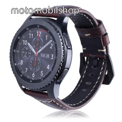 Valódi bőr okosóra szíj - 95mm + 120mm hosszú, 22mm széles - SAMSUNG Galaxy Watch 46mm / SAMSUNG Gear S3 Classic / SAMSUNG Gear S3 Frontier - FÉNYES BARNA