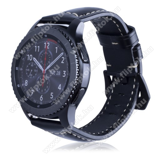ZTE Watch GTValódi bőr okosóra szíj - 95mm + 120mm hosszú, 22mm széles - SAMSUNG Galaxy Watch 46mm / SAMSUNG Gear S3 Classic / SAMSUNG Gear S3 Frontier - FÉNYES FEKETE