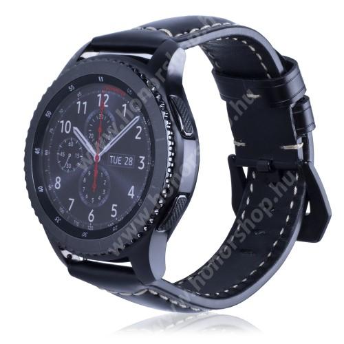 HUAWEI Honor MagicWatch 2 46mm Valódi bőr okosóra szíj - 95mm + 120mm hosszú, 22mm széles - SAMSUNG Galaxy Watch 46mm / SAMSUNG Gear S3 Classic / SAMSUNG Gear S3 Frontier - FÉNYES FEKETE