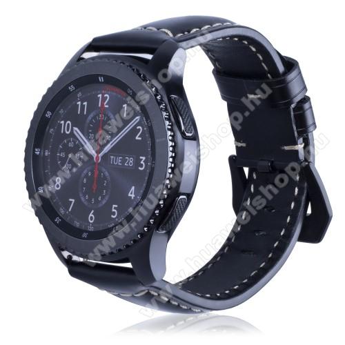 HUAWEI Watch MagicValódi bőr okosóra szíj - 95mm + 120mm hosszú, 22mm széles - SAMSUNG Galaxy Watch 46mm / SAMSUNG Gear S3 Classic / SAMSUNG Gear S3 Frontier - FÉNYES FEKETE