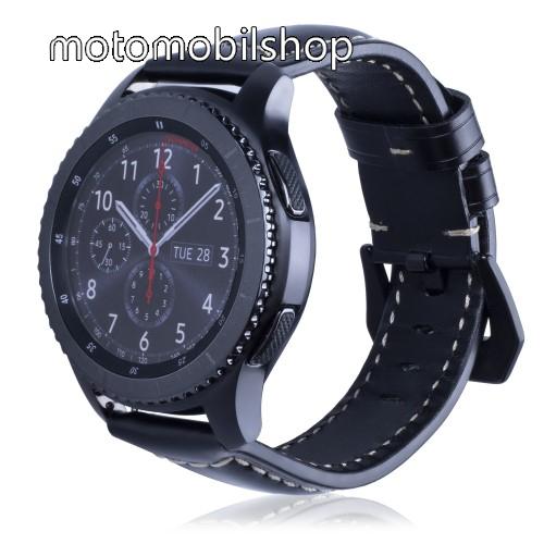 Valódi bőr okosóra szíj - 95mm + 120mm hosszú, 22mm széles - SAMSUNG Galaxy Watch 46mm / SAMSUNG Gear S3 Classic / SAMSUNG Gear S3 Frontier - FÉNYES FEKETE