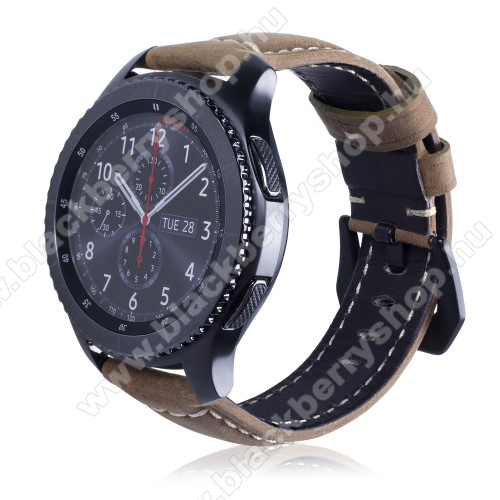 Valódi bőr okosóra szíj - 95mm + 120mm hosszú, 22mm széles - SAMSUNG Galaxy Watch 46mm / SAMSUNG Gear S3 Classic / SAMSUNG Gear S3 Frontier - VILÁGOSBARNA