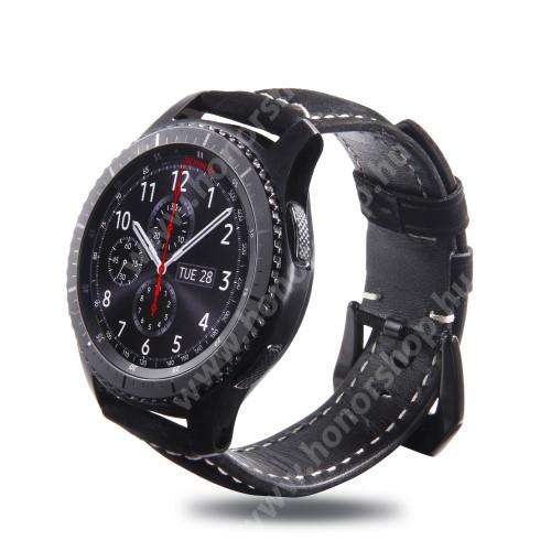 HUAWEI Watch GT 46mm Valódi bőr okosóra szíj - 95mm + 120mm hosszú, 22mm széles - SAMSUNG Galaxy Watch 46mm / SAMSUNG Gear S3 Classic / SAMSUNG Gear S3 Frontier - MATT FEKETE