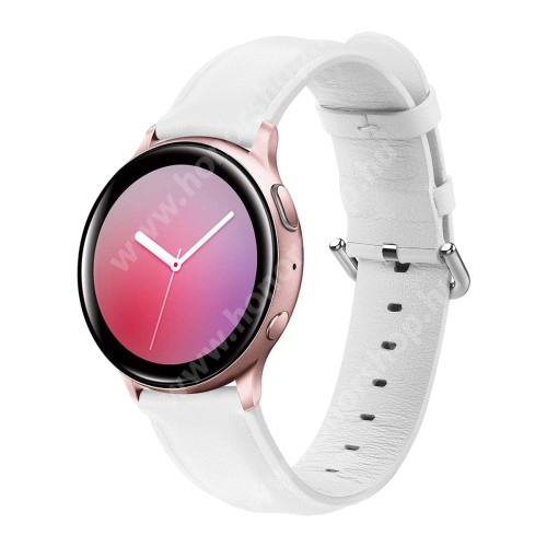 HUAWEI Watch GT 2 42mm Valódi bőr okosóra szíj - FEHÉR - 75mm + 119mm hosszú, 20mm széles, max 220mm-es csuklóra - SAMSUNG Galaxy Watch 42mm / Xiaomi Amazfit GTS / SAMSUNG Gear S2 / HUAWEI Watch GT 2 42mm / Galaxy Watch Active / Active 2