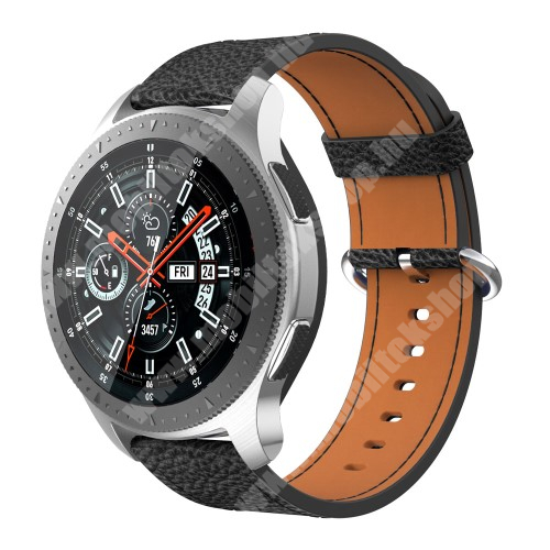 Valódi bőr okosóra szíj - FEKETE - 110mm + 65mm hosszú, 22mm széles - SAMSUNG Galaxy Watch 46mm / SAMSUNG Gear S3 Classic / SAMSUNG Gear S3 Frontier