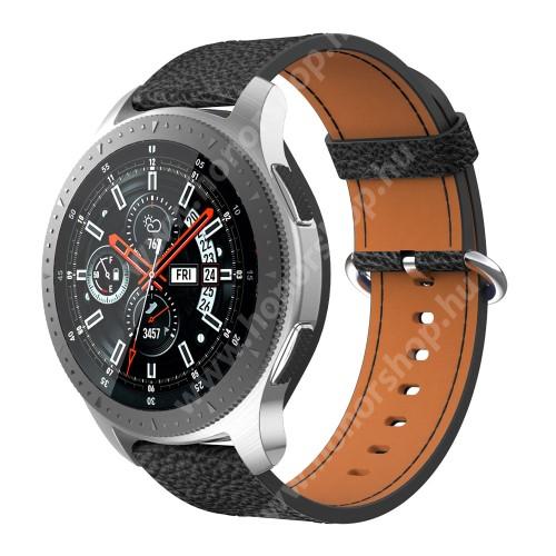 HUAWEI Watch Magic Valódi bőr okosóra szíj - FEKETE - 110mm + 65mm hosszú, 22mm széles - SAMSUNG Galaxy Watch 46mm / SAMSUNG Gear S3 Classic / SAMSUNG Gear S3 Frontier