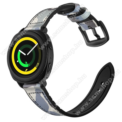 Valódi bőr okosóra szíj - KÉK TEREPMINTÁS - valódi bőr, szilikon belső, 120mm + 80mm hosszú, 20mm széles - SAMSUNG Galaxy Watch 42mm / Xiaomi Amazfit GTS / SAMSUNG Gear S2 / HUAWEI Watch GT 2 42mm / Galaxy Watch Active / Active 2