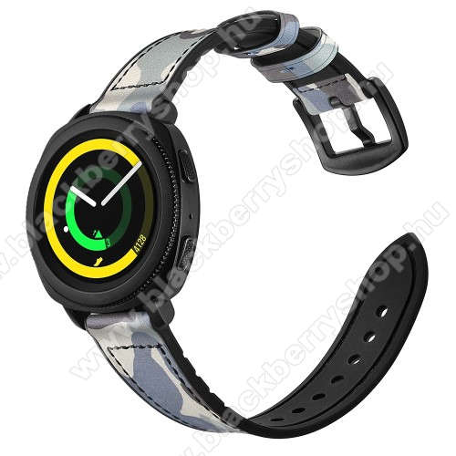 Valódi bőr okosóra szíj - KÉK TEREPMINTÁS - valódi bőr, szilikon belső, 120mm + 80mm hosszú, 20mm széles - SAMSUNG Galaxy Watch 42mm / Xiaomi Amazfit GTS / SAMSUNG Gear S2 / HUAWEI Watch GT 2 42mm / Galaxy Watch Active / Active 2