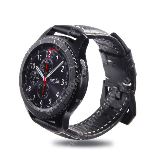 HUAWEI Honor MagicWatch 2 46mm Valódi bőr okosóra szíj - Krokodilbőr minta, 95mm + 120mm hosszú, 22mm széles - SAMSUNG Galaxy Watch 46mm / SAMSUNG Gear S3 Classic / SAMSUNG Gear S3 Frontier - FEKETE