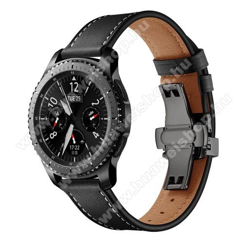 Valódi bőr okosóra szíj - speciális pillangó csatos, 120 + 80mm hosszú, 22mm széles, 165-220mm átmérőjű csuklóméretig - FEKETE - HUAWEI Watch GT / HUAWEI Watch 2 Pro / Honor Watch Magic / HUAWEI Watch GT 2 46mm
