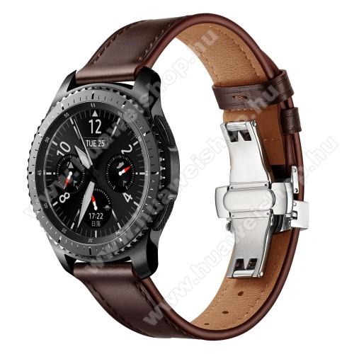 Valódi bőr okosóra szíj - speciális pillangó csatos, 120 + 80mm hosszú, 22mm széles, 165-220mm átmérőjű csuklóméretig - EZÜST / KÁVÉBARNA - HUAWEI Watch GT / HUAWEI Watch 2 Pro / Honor Watch Magic / HUAWEI Watch GT 2 46mm