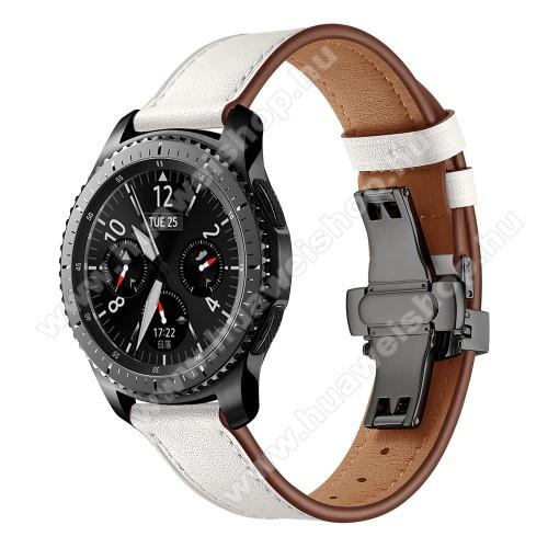 Valódi bőr okosóra szíj - speciális pillangó csatos, 120 + 80mm hosszú, 22mm széles, 165-220mm átmérőjű csuklóméretig - FEHÉR - HUAWEI Watch GT / HUAWEI Watch 2 Pro / Honor Watch Magic / HUAWEI Watch GT 2 46mm