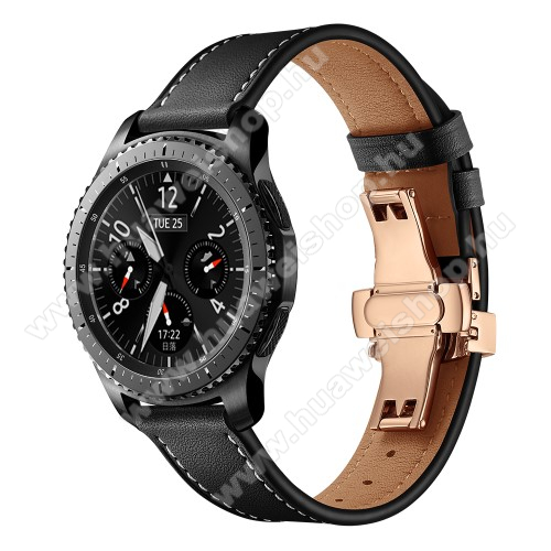 Valódi bőr okosóra szíj - speciális pillangó csatos, 120 + 80mm hosszú, 22mm széles, 165-220mm átmérőjű csuklóméretig - FEKETE / ROSE GOLD - HUAWEI Watch GT / HUAWEI Watch 2 Pro / Honor Watch Magic / HUAWEI Watch GT 2 46mm