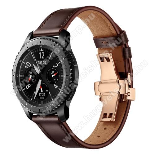 Valódi bőr okosóra szíj - speciális pillangó csatos, 120 + 80mm hosszú, 22mm széles, 165-220mm átmérőjű csuklóméretig - SÖTÉTBARNA / ROSE GOLD - HUAWEI Watch GT / HUAWEI Watch 2 Pro / Honor Watch Magic / HUAWEI Watch GT 2 46mm