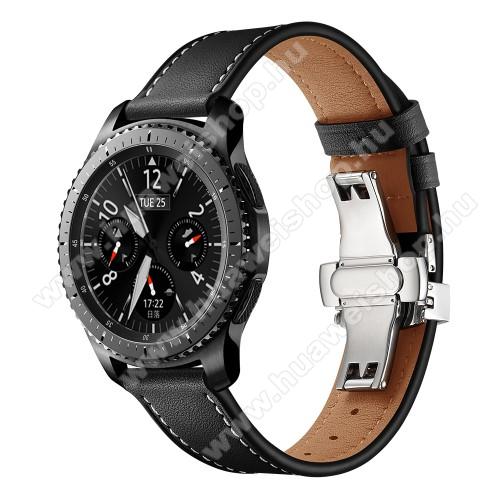 Valódi bőr okosóra szíj - speciális pillangó csatos, 120 + 80mm hosszú, 22mm széles, 165-220mm átmérőjű csuklóméretig - FEKETE / EZÜST - HUAWEI Watch GT / HUAWEI Watch 2 Pro / Honor Watch Magic / HUAWEI Watch GT 2 46mm