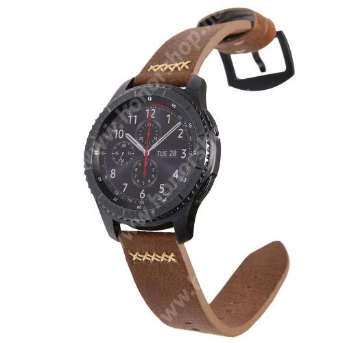 HUAWEI Watch Magic Valódi bőr okosóra szíj - TELESZKÓP NÉLKÜL!, 90mm + 120mm hosszú, 22mm széles, varrás mintás - SAMSUNG Galaxy Watch 46mm / SAMSUNG Gear S3 Classic / SAMSUNG Gear S3 Frontier - BARNA