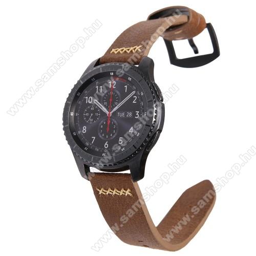 Valódi bőr okosóra szíj - TELESZKÓP NÉLKÜL!, 90mm + 120mm hosszú, 22mm széles, varrás mintás - SAMSUNG Galaxy Watch 46mm / SAMSUNG Gear S3 Classic / SAMSUNG Gear S3 Frontier - BARNA
