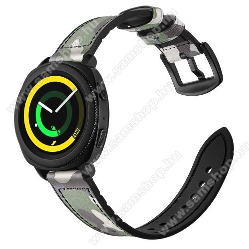 Valódi bőr okosóra szíj - ZÖLD TEREPMINTÁS - valódi bőr, szilikon belső, 120mm + 80mm hosszú, 20mm széles - SAMSUNG Galaxy Watch 42mm / Xiaomi Amazfit GTS / SAMSUNG Gear S2 / HUAWEI Watch GT 2 42mm / Galaxy Watch Active / Active 2