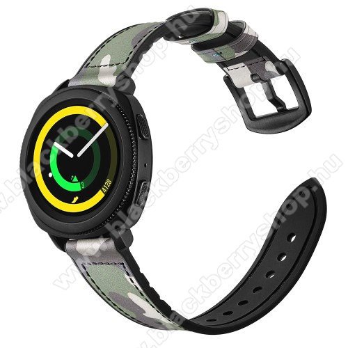 Valódi bőr okosóra szíj - ZÖLD TEREPMINTÁS - valódi bőr, szilikon belső, 120mm + 80mm hosszú, 20mm széles - SAMSUNG Galaxy Watch 42mm / Xiaomi Amazfit GTS / SAMSUNG Gear S2 / HUAWEI Watch GT 2 42mm / Galaxy Watch Active / Active 2