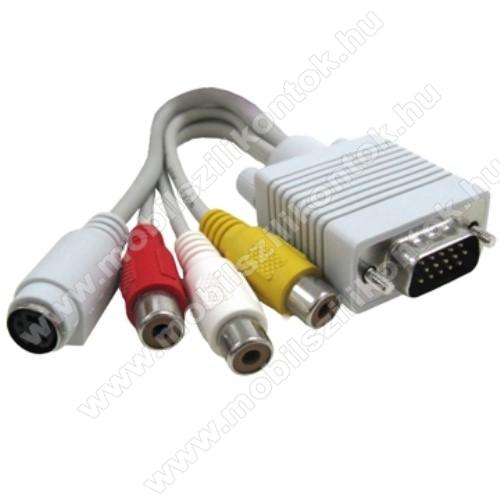 VGA átalakító kábel - VGA-ról S-Video AV RCA-ra alakít át - FEHÉR