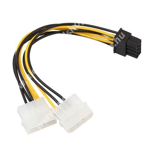 Videókártya PCI Express tápkábel - 2x 4pin / 8pin, 18cm hosszú - FEKETE / SÁRGA