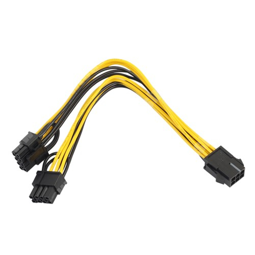 Videókártya PCI Express tápkábel -  6pin anya / 2x 8pin apa kábel, 20cm hosszú - FEKETE / SÁRGA