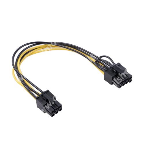 Videókártya PCI Express tápkábel - 6pin anya / 8pin (6pin+2pin) anya kábel, 20cm hosszú - FEKETE / SÁRGA