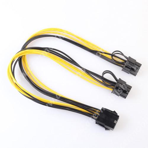 ACER Liquid Z3 Videókártya PCI Express tápkábel -  8pin anya / 2x 8pin apa kábel, 30cm hosszú - FEKETE / SÁRGA
