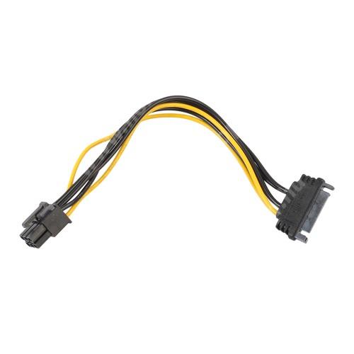 Videókártya PCI Express tápkábel -   SATA 15pin / 6pin PCI Express - FEKETE / SÁRGA
