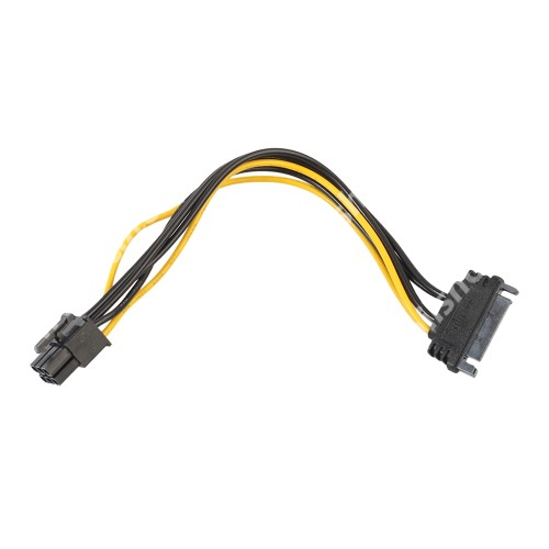 ALCATEL OTE 301 Videókártya PCI Express tápkábel -   SATA 15pin / 6pin PCI Express - FEKETE / SÁRGA
