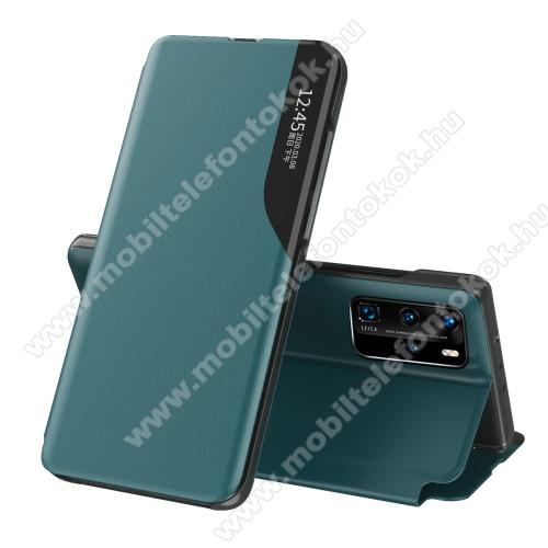 View Window ablakos notesz tok / flip tok - ZÖLD - oldalra nyíló, asztali tartó funkciós, műanyag belső - Xiaomi Mi 10T 5G / Mi 10T Pro 5G / Redmi K30S