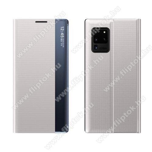 View Window ablakos notesz tok / flip tok - SZÜRKE - oldalra nyíló, rejtett mágneses záródás, asztali tartó funkciós, műanyag belső - SAMSUNG Galaxy A72 5G (SM-A726F) / Galaxy A72 4G (SM-A725F)