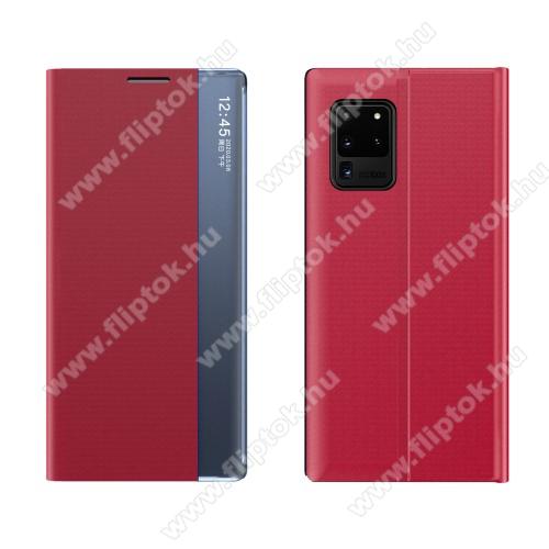 View Window ablakos notesz tok / flip tok - PIROS - oldalra nyíló, rejtett mágneses záródás, asztali tartó funkciós, műanyag belső - SAMSUNG Galaxy A72 5G (SM-A726F) / Galaxy A72 4G (SM-A725F)
