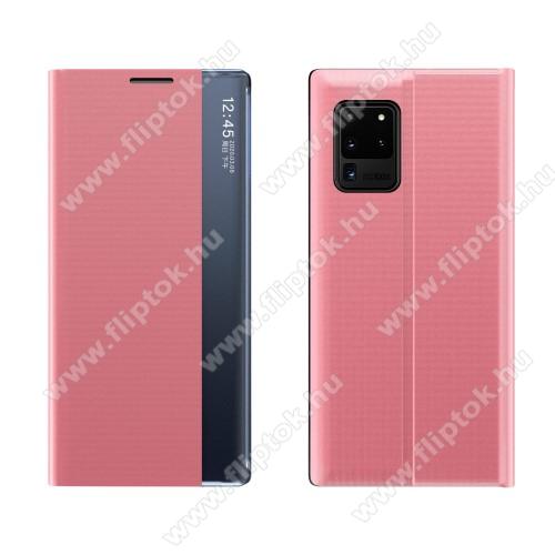 View Window ablakos notesz tok / flip tok - RÓZSASZÍN - oldalra nyíló, rejtett mágneses záródás, asztali tartó funkciós, műanyag belső - SAMSUNG Galaxy A72 5G (SM-A726F) / Galaxy A72 4G (SM-A725F)