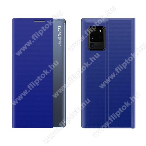 View Window ablakos notesz tok / flip tok - KÉK - oldalra nyíló, rejtett mágneses záródás, asztali tartó funkciós, műanyag belső - SAMSUNG Galaxy A72 5G (SM-A726F) / Galaxy A72 4G (SM-A725F)