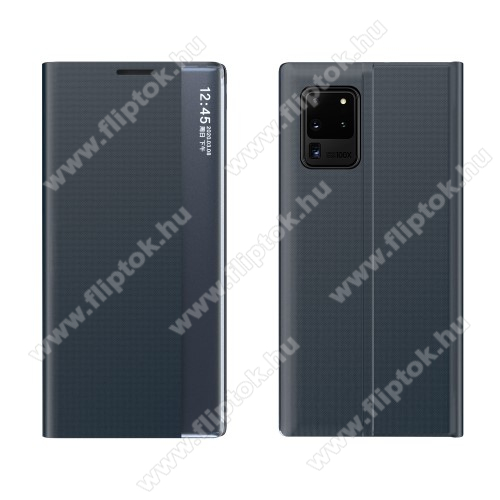 View Window ablakos notesz tok / flip tok - SÖTÉTKÉK - oldalra nyíló, rejtett mágneses záródás, asztali tartó funkciós, műanyag belső - SAMSUNG Galaxy A72 5G (SM-A726F) / Galaxy A72 4G (SM-A725F)