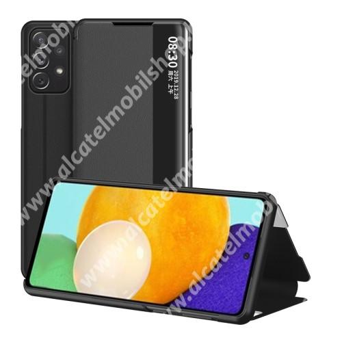 View Window ablakos notesz tok / flip tok - FEKETE - oldalra nyíló, asztali tartó funkciós, műanyag belső - SAMSUNG Galaxy A52 5G (SM-A526F) / A52 4G (SM-A525F) / A52s 5G (SM-A528B / SM-A528B/DS)