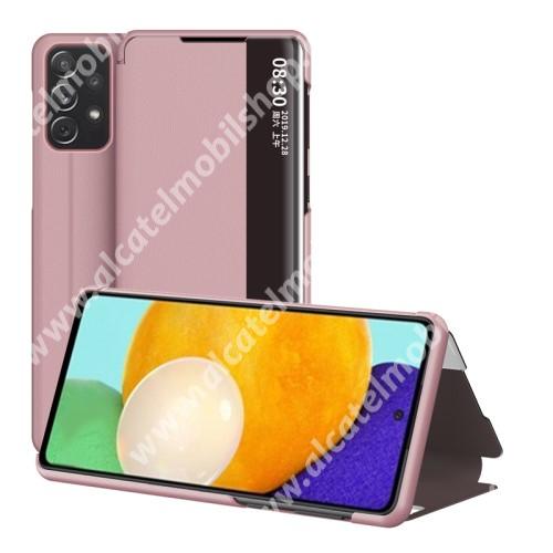 View Window ablakos notesz tok / flip tok - ROSE GOLD - oldalra nyíló, asztali tartó funkciós, műanyag belső - SAMSUNG Galaxy A52 5G (SM-A526F) / A52 4G (SM-A525F) / A52s 5G (SM-A528B / SM-A528B/DS)