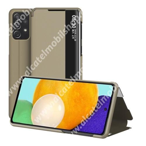 View Window ablakos notesz tok / flip tok - ARANY - oldalra nyíló, asztali tartó funkciós, műanyag belső - SAMSUNG Galaxy A52 5G (SM-A526F) / A52 4G (SM-A525F) / A52s 5G (SM-A528B / SM-A528B/DS)