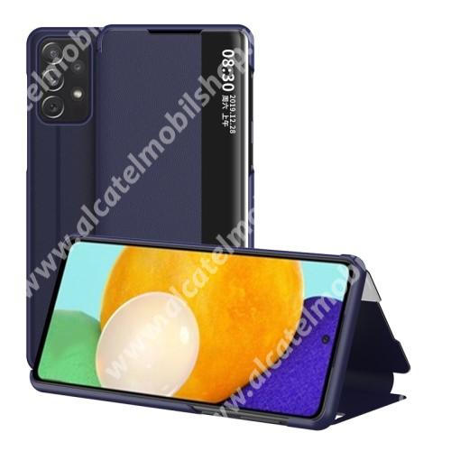 View Window ablakos notesz tok / flip tok - SÖTÉTKÉK - oldalra nyíló, asztali tartó funkciós, műanyag belső - SAMSUNG Galaxy A52 5G (SM-A526F) / A52 4G (SM-A525F) / A52s 5G (SM-A528B / SM-A528B/DS)