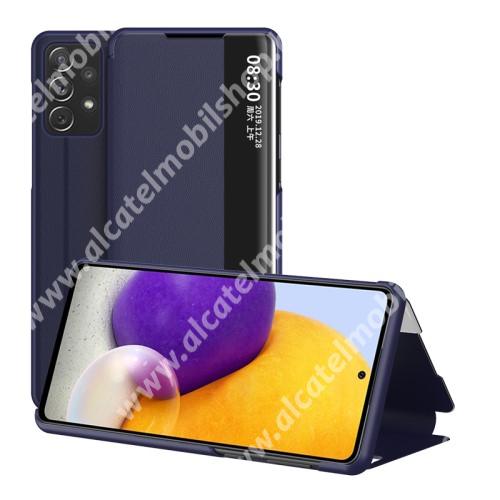 View Window ablakos notesz tok / flip tok - SÖTÉTKÉK - oldalra nyíló, asztali tartó funkciós, műanyag belső - SAMSUNG Galaxy A72 5G (SM-A726F) / Galaxy A72 4G (SM-A725F)