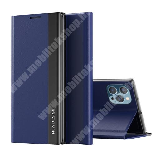 View Window ablakos notesz tok / flip tok - SÖTÉTKÉK - oldalra nyíló, asztali tartó funkciós, rejtett mágneses záródás, műanyag belső - APPLE iPhone 13 Pro Max